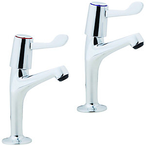 Image of Wickes Modena Pillar Kitchen Sink Taps - Chrome