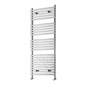Wickes Liquid Round Vertical Designer Towel Radiator - Chrome 1200 x 500 mm
