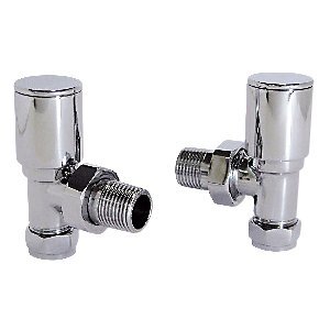 Wickes Contemporary Chrome Round Angled Radiator Valves - 15mm