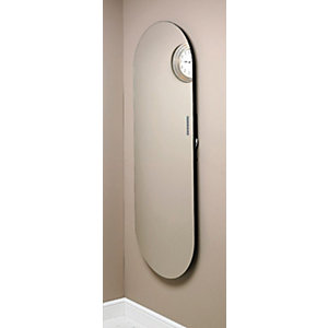 Image of Wickes Soap Ellipse Electric Glass Radiator - Mirrored 1380 x 500 mm