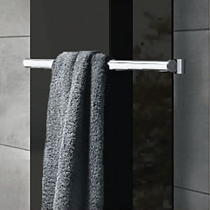Image of Wickes Glass Radiator Towel Bar - Brushed Stainless Steel 50 x 540 mm