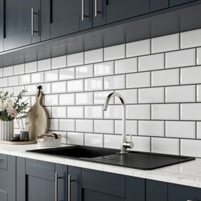wickes metro white ceramic tile 200 x 100mm wickescouk - Metro Kitchen