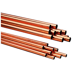Image of Wickes Copper Pipe 22mm x 2m Pack 10