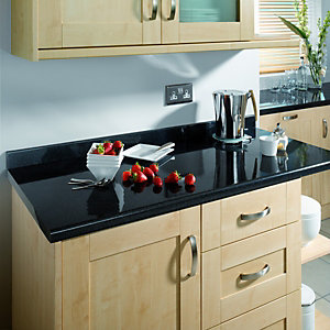 Wickes Laminate Worktop Upstand - Taurus Black Gloss 70 x 12mm x 3m