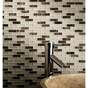 Emperador, Stone & Glass Mosaic Sheet - 308 x 300mm