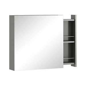 Image of Wickes Alessano Grey Gloss Wall Hung Mirror Storage Unit - 600 mm