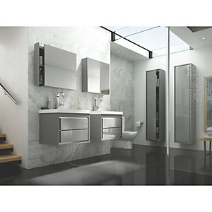 Wickes Novellara Grey Gloss Wall Hung Tall Tower Unit - 400 mm