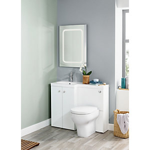 Image of Wickes White L-Shaped Vanity Unit & Basin (LH)
