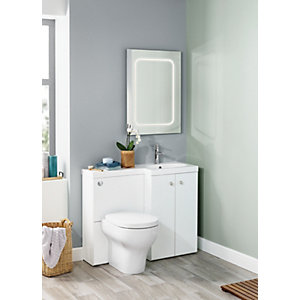 Image of Wickes White L-Shaped Vanity Unit & Basin (RH)