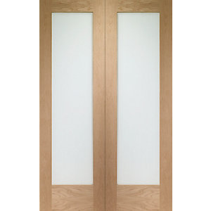 Wickes Oxford Glazed Internal Rebated Oak Veneer Door Pair 1981x1168mm