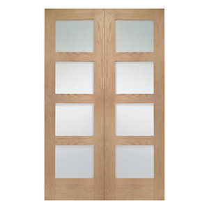 Wickes Marlow Fully Glazed Oak 4 Panel Rebated Internal Door Pair - 1981mm x 1220mm
