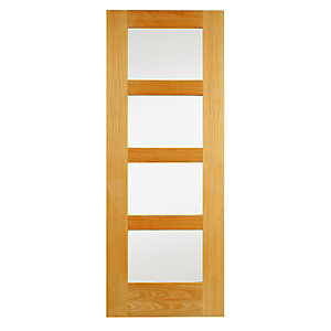 Wickes Marlow Internal Clear Glazed 4 Panel Oak Door - 1981 x 762mm