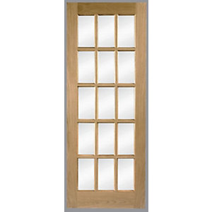 Wickes Hexham Fully Glazed Oak 15 Light Internal Door - 1981mm x 686mm