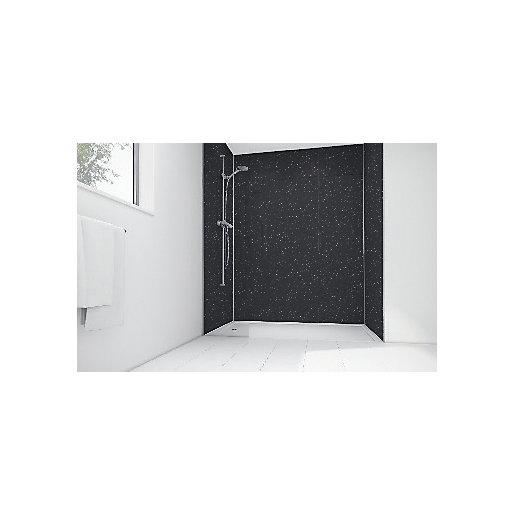 Mermaid Black Sparkle Gloss Laminate 3 Sided Shower