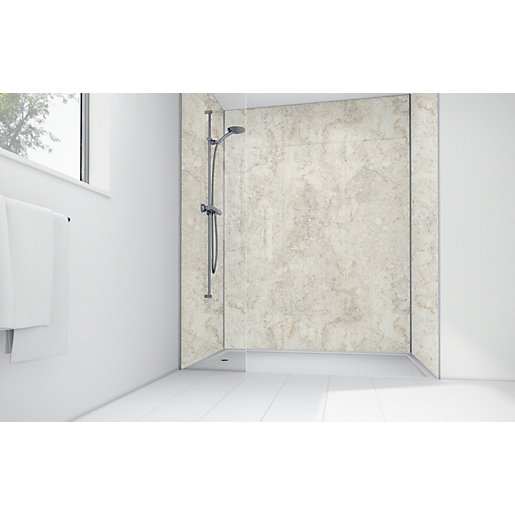 Mermaid Cream Calacatta Laminate 3 Sided Shower Panel