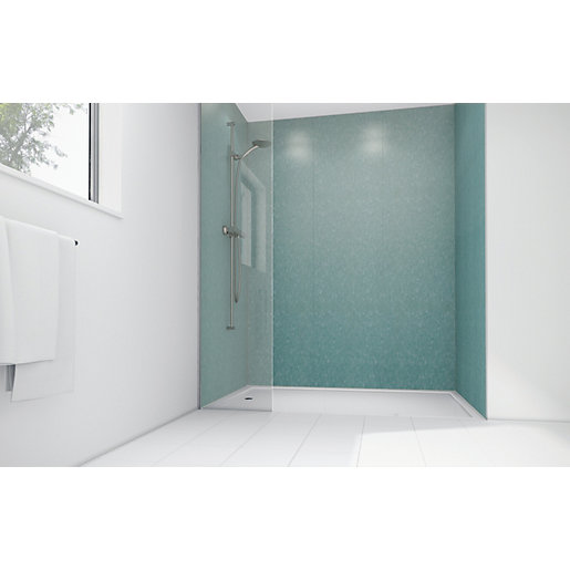Mermaid Peppermint Frost Gloss Laminate 3 Sided Shower
