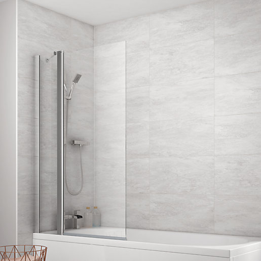 Shower Screens For Baths wickes 1/2 frame fixed panel square bath screen - 1400 x 900mm
