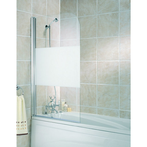 Wickes Half Bath Screen Frosted Silver Effect Frame 1400mm