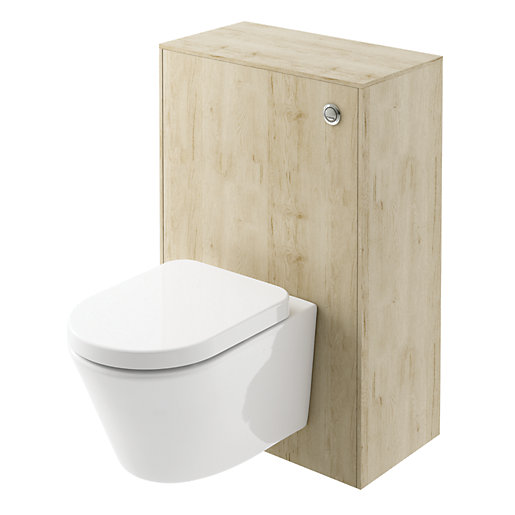 Wickes Eli Oak Wall Hung Toilet Unit -