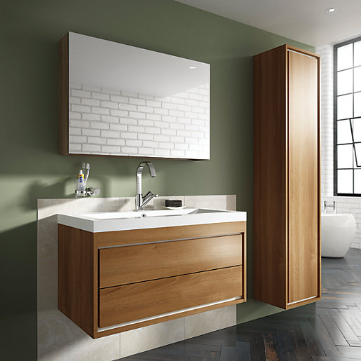 Wickes novellara walnut wall hung vanity unit 600 mm - Designer wall hung bathroom vanity units ...
