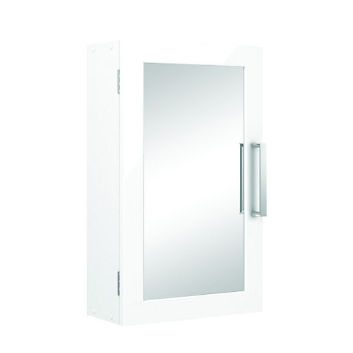 Wickes Single Mirror Bathroom Cabinet - White 300mm