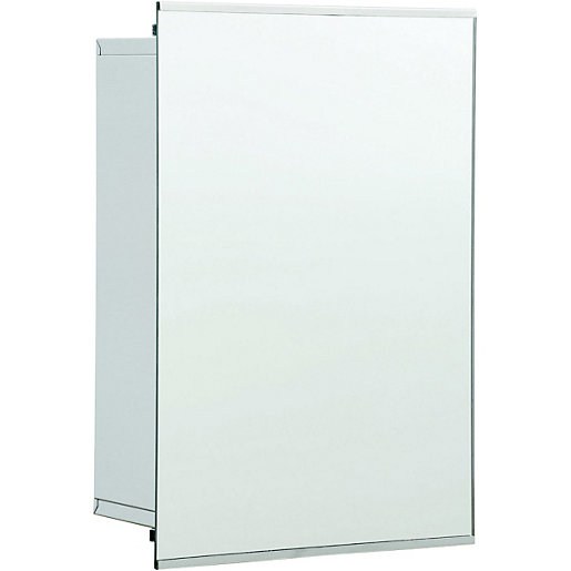 Wickes Sliding Mirror Bathroom Cabinet - Stainless Steel 340mm