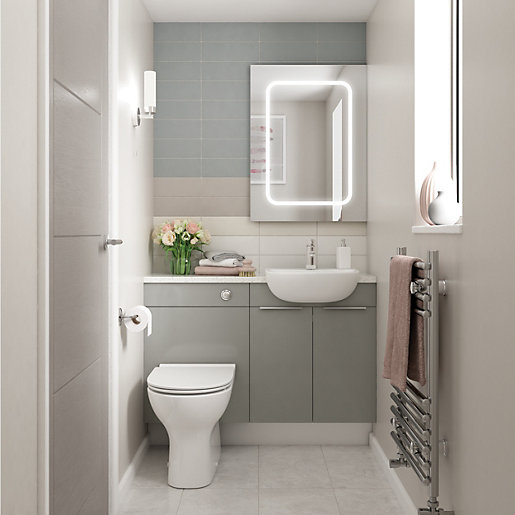 Wickes Vienna Grey Gloss On White Fitted Compact WC Unit - 600mm