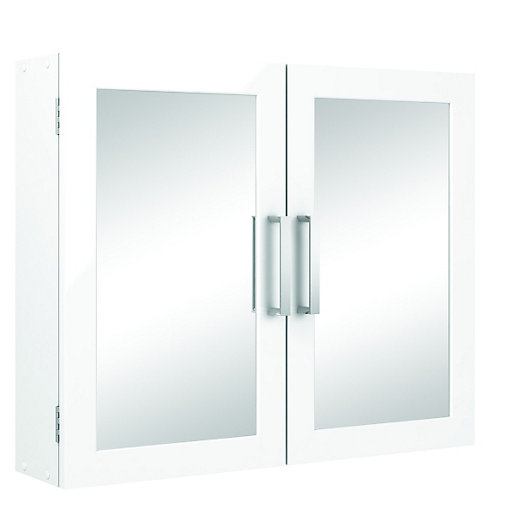 Wickes Double Mirror Bathroom Cabinet White 600mm