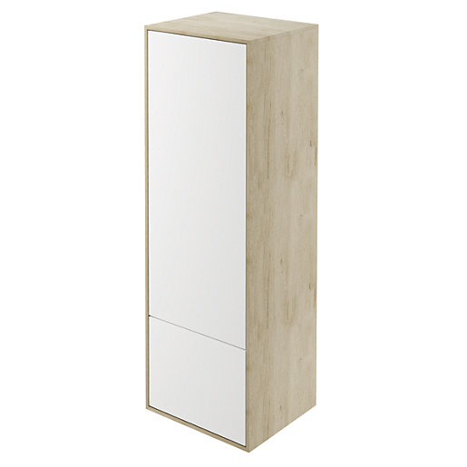 wickes bathroom wall cabinets wickes eli oak amp white matt wall hung tower unit 29273
