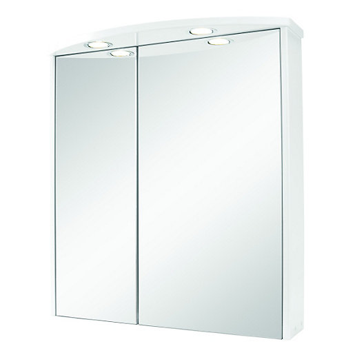 Wickes illuminated double mirror bathroom cabinet white 600mm for Bathroom cabinets uk
