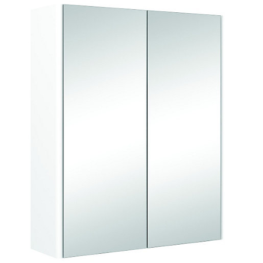 Wickes semi frameless double mirror bathroom cabinet white 500mm for Bathroom mirror cupboard