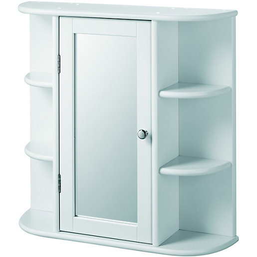 Wickes Single Mirror Bathroom Cabinet With 6 Shelves   White 580mm