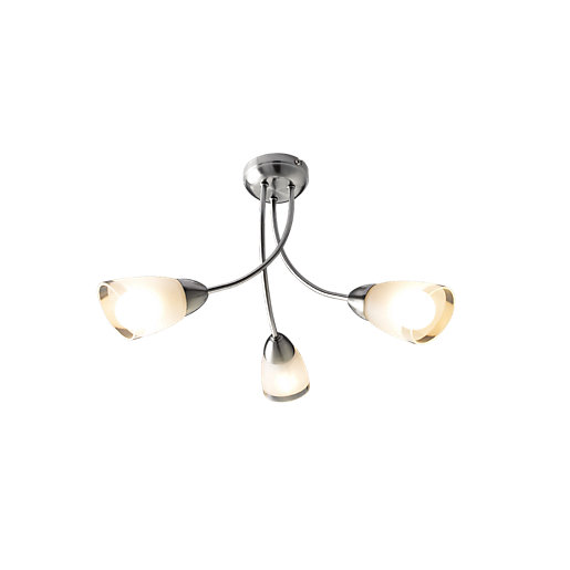 Wickes Monica Glass & Chrome Pendant Ceiling Light