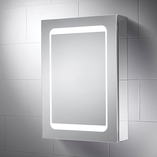 Lighted Bathroom Wall Mirror Large: Wickes Earth LED Mirror Cabinet With Integrated Shaver