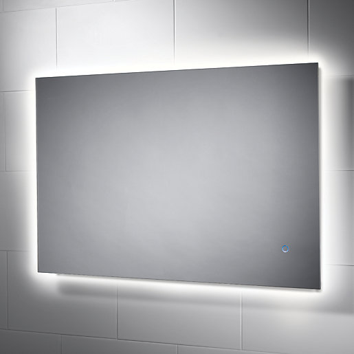 Heated Bathroom Mirrors With Lights: Wickes Albany Backlit Metal & Glass LED Mirror