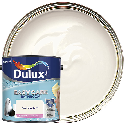 Dulux Easycare Bathroom Soft Sheen Emulsion Paint Jasmine White 2 5l