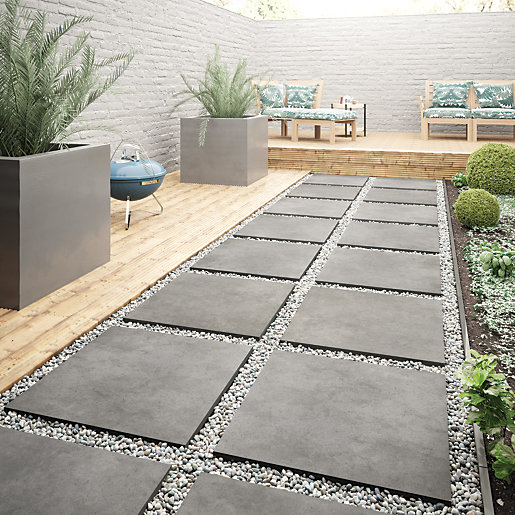 Wickes Al Fresco Graphite Indoor & Outdoor Porcelain Floor