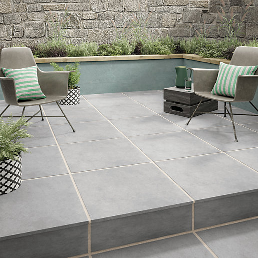 Urban Cement Grey Stone Effect Ceramic Wall Floor Tile: Wickes Al Fresco Grey Indoor & Outdoor Porcelain Floor