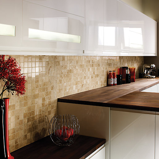 Wickes Beige Polished Marble Mosaic Tile 305 X 305mm
