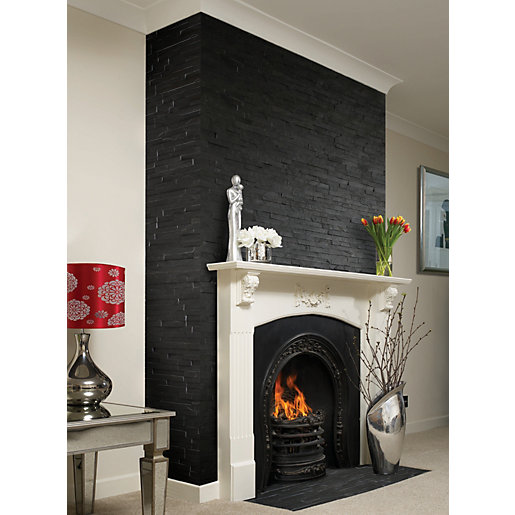 Grey Slate Kitchen Wall Tiles: Wickes Black Split Face Slate Pack Of 8 360 X 100mm