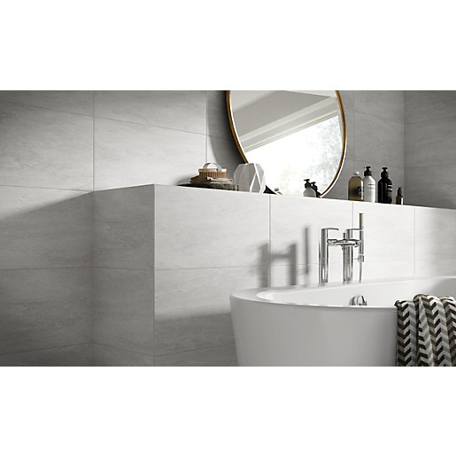 travis perkins bathroom tiles wickes brook grey porcelain tile 600 x 300mm wickes co uk 21034