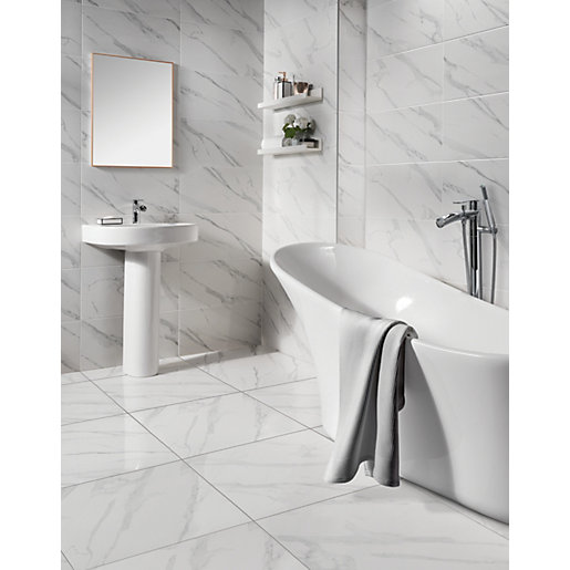 Wickes Calacatta Gloss White Marble Effect Glazed