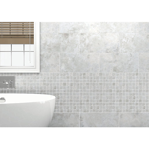 wickes bathroom tiles uk wickes kensington grey effect mosiac wall tile 600 x 21660