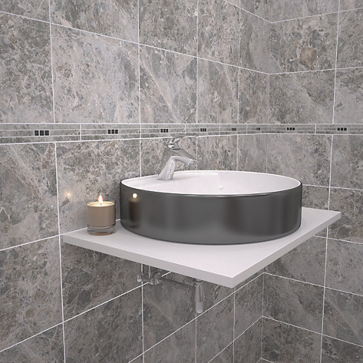 wickes bathroom border tiles wickes light cappuccino marble effect border tile 275 x 21656
