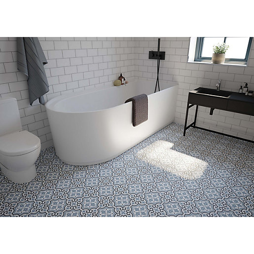 Wickes Melia Blue Patterned Ceramic Tile 200 X 200mm