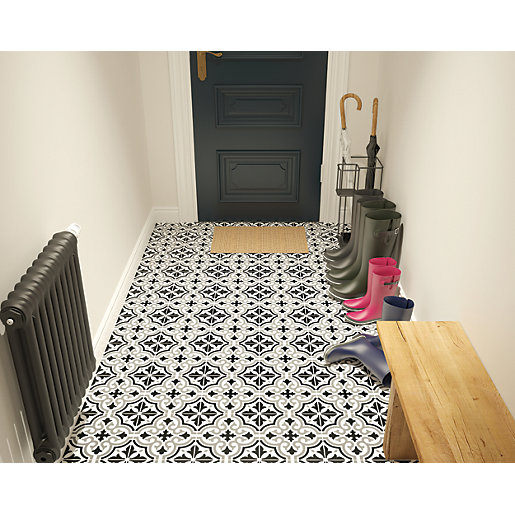 Wickes Melia Charcoal Patterned Ceramic