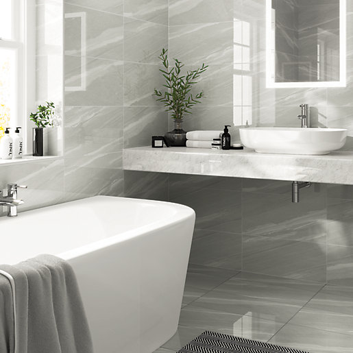 Wickes Olympia Grey Polished Sandstone Porcelain Wall & Floor Tile ...