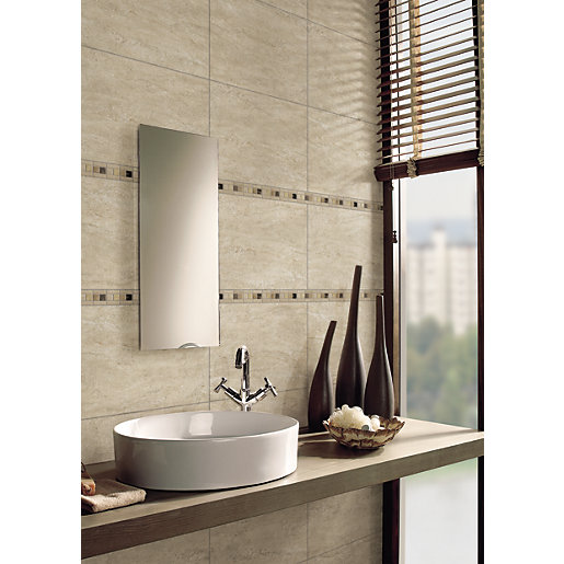 Wickes Sofia Beige Travertine Natural Stone Mosaic Border Tile   300 X 40mm