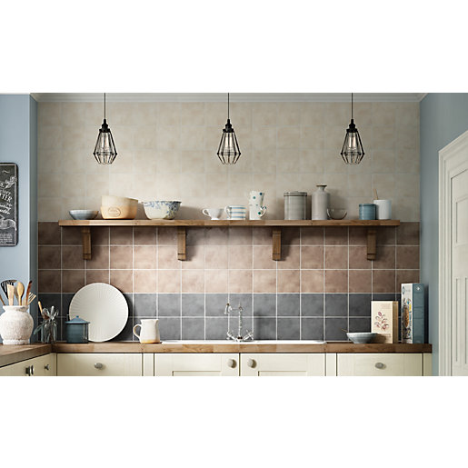 kitchen tiles uk online wickes tuscan rustic brown satin ceramic wall tile 148 x 6307