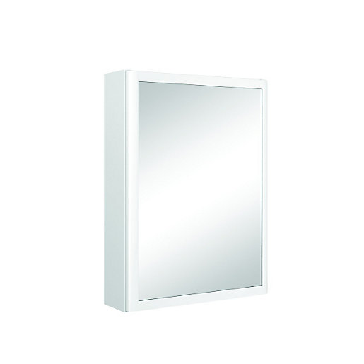 wickes bettona curved mirror bathroom cabinet white 21658